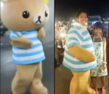 หนุ่มแต่งตุ๊กตาหมีคุมะ ทำเซอร์ไพร์แฟน ขอแฟนแต่งงานกลางตลาด