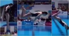 ผู้ชมเหวอ นักกระโดดน้ำสาวออสซี่ พุ่งลงน้ำแบบไร้ลีลา