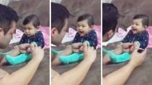 น่ารักละลายใจ!! เด็กน้อยรู้จักแกล้งพ่อที่พยายามจะตัดเล็บให้!!