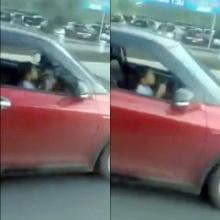 ผงะ! เจอเด็กขับเก๋งกลางถนนหลวง หัวยังไม่พ้นพวงมาลัย
