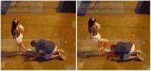 หนุ่มก้มกราบเท้าอ้อนวอนแฟนสาวไม่ให้ทิ้ง สุดท้ายโดนฝ่ายหญิงกระทืบเข้าที่หัว!!?