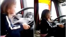 ทำไปได้!! พ่อแม่ให้ลูกสาว 3 ขวบ หัดขับรถบรรทุก!!