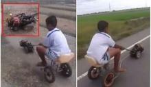 เก่งไปแล้วไอ้หนู!!! เด็กไทยประดิษฐ์มอเตอร์ไซค์คันจิ๋ว-ซิ่งได้