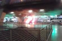 ไฟไหม้รถแท็กซี่เมื่อเช้า #สนามบินสุวรรณภูมิ (9/7/58)