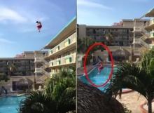 โดดลงสระว่ายน้ำจากตึก 5 ชั้น เจ็บมั้ยให้ทาย!!
