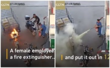 สติมา ปัญหาจบ! พนักงานหญิงยุติเหตุไฟไหม้กลางปั๊มน้ำมันใน 12 วินาที (มีคลิป)