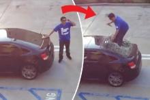 หนุ่มแค้นแฟนทิ้ง บุกพังรถสาว-เหยียบกระจกหลังแตก(คลิป)