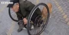 เจ้าตูบผู้ซื่อสัตย์ช่วยดันล้อวีลแชร์คุณตาพิการส่งจุดหมาย