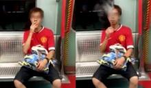 หน้ามืน!!! หนุ่มสูบบุหรี่บนรถไฟฟ้าไม่แคร์สายตาชาวบ้าน!!!