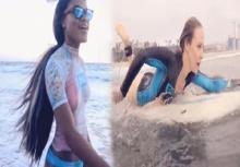 เด็ดมาก!!สาวๆแก้ผ้า บอดี้เพ้นท์ เล่นเซิร์ฟว่ายน้ำทำหนุ่มๆน้ำลายหก!!