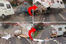 คลิปนาทีระทึก รถบ้านคว่ำ กระจายเกลื่อนถนน!!
