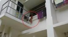 หวาดเสียว!! ยกย่องคนงานปีนตึกช่วยหนูน้อยห้อยต่องแต่งริมระเบียง
