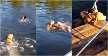 เมื่อเจ้านายแกล้งจมน้ำ มาดูกันน้องหมาจะทำไง!!