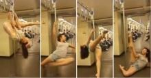 สาวโชว์เต้น รูดเสา บนรถไฟฟ้า  ลีลาสุดเด็ด