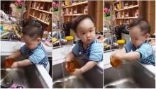 น่ารักฝุดๆ เด็กวัยแค่ขวบเศษล้างถ้วยเองได้แล้ว