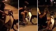 หนุ่มเวียดนามพิเรนทร์ ให้หมาขับมอไซค์เองบนถนน