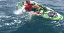 ปลาฉลามลากเบ็ดจนเรือล่ม ชายตกปลารีบว่ายเข้าฝั่ง เกือบเอาชีวิตไม่รอด!