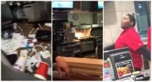 พนักงานแมคโดนัลด์สติแตก อาละวาดพังร้าน!!!!