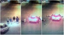 หนุ่ม 5 คนเดิมริมถนนอยู่ดีๆ โดนเก๋งซิ่งชนกระเด็นคนละทิศ