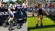 สุดประทับใจ! หนุ่มน้อยพิการแข่งไตรกีฬา-ทิ้งเครื่องช่วยเดินเข้าเส้นชัย
