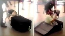 ลงทุนสุดๆ!! หนุ่มซ่อนตัวในกระเป๋าเดินทาง แต่สุดท้ายไปไม่รอด!