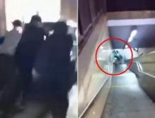 ทำเพื่อ!?วัยรุ่นเข็นรถยนต์ลงบันไดรถไฟใต้ดินฉลองปีใหม่!!