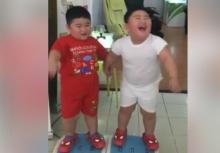 2เด็กอ้วนขอลองยืนบนเครื่องสั่น หัวเราะหนักมาก ยอดวิวพุ่งทะลุหลายล้าน