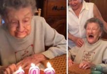 คุณยายสุดปลื้ม เป่าเค้กจน ฟันปลอมหลุด ฉลองวันเกิด 102 ปี