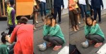 หญิงสุดเครียด…กระโดดตัดหน้าให้รถปอ.ชนหน้าห้างดัง