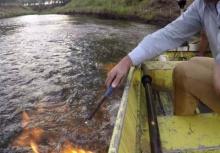 ระทึก!สส.ออสซี่ลองจุดไฟกลางแม่น้ำ พิสูจน์ก๊าซมีเทนรั่ว