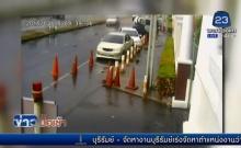 นนทบุรี เปิดภาพนาทีระทึกรถกระบะข้ามเกาะ