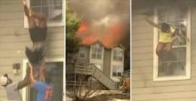 นาทีชีวิต 2 เด็กสาวโดดจากชั้น 2 ของบ้าน หนีตายไฟไหม้