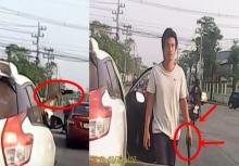 วิจารณ์สนั่น!! วัยรุ่นกร่างจอดรถควักปืนขู่กลางถนน!!