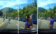 ฮา!!คลิปมนุษย์ป้าหัวใสสุดเฟล วิ่งตัดหน้ารถหวังเรียกค่าเสียหาย
