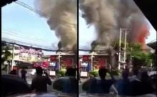 คลิปชัดๆ!!วินาทีระทึก ไฟไหม้ร้านอาหารดังย่านรังสิต คาดสูญกว่า 20 ล.