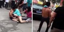 สามีปกป้องชู้สาว หลังโดนภรรยาและลูกสาวรุมทำร้าย กลางถนน