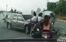 อุทาหรณ์!!แชร์ว่อนนาทีระทึกอุบัติเหตุรถชนสนั่น เพราะความประมาทแท้ๆ