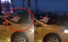 สาวโคตรอินดี้!! แท็กซี่ไม่เปิดรับ ขึ้นไปนอนเล่นมือถือบนกระโปรง ระหว่างรถกำลังวิ่งกลางแยก (คลิป)