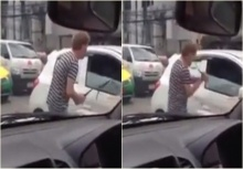 แท็กซี่โหดใช้เหล็กฟาดกระจกรถคันหน้าแตกยับ เถื่อนสิ้นดี!!