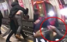 ระทึก!! หนุ่มเมาหนักกอดคอกันพลัดตกชานชาลา ก่อนรถไฟใต้ดินมาแค่เสี้ยวนาที (คลิป)