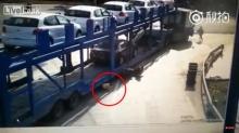 นาทีชีวิต!! หนุน้อบถูกรถบรรทุกลากเข้าใต้ท้องรถ..แต่รอดปาฏิหาริย์
