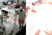 ช็อก!! ชายคลั่งบุกโรงพยาบาลราดน้ำมันเผาคู่อริ (ชมคลิป)