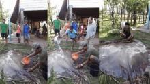 สุดช็อค !! พ่อเฒ่าลาวจับปลากระเบนยักษ์หนักกว่าร้อยโล !!
